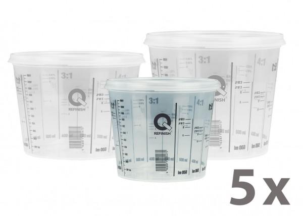 Mischbecher & Deckel - 385 ml, 5er Pack
