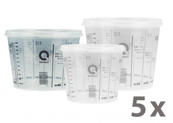 Mischbecher & Deckel - 750 ml, 5er Pack
